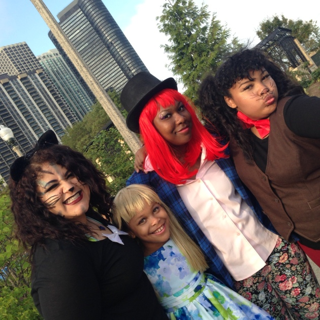 The Glover Girls celebrating  with cosplay at Maggie Daley park in Chicago